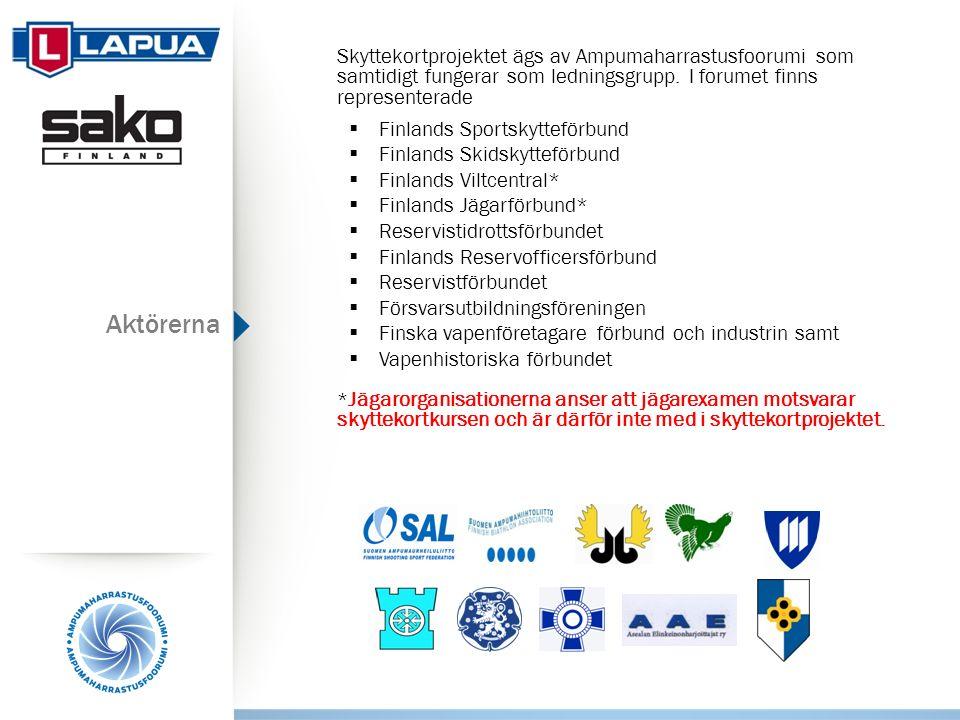 Aktörerna Skyttekortprojektet ägs av Ampumaharrastusfoorumi som samtidigt fungerar som ledningsgrupp.