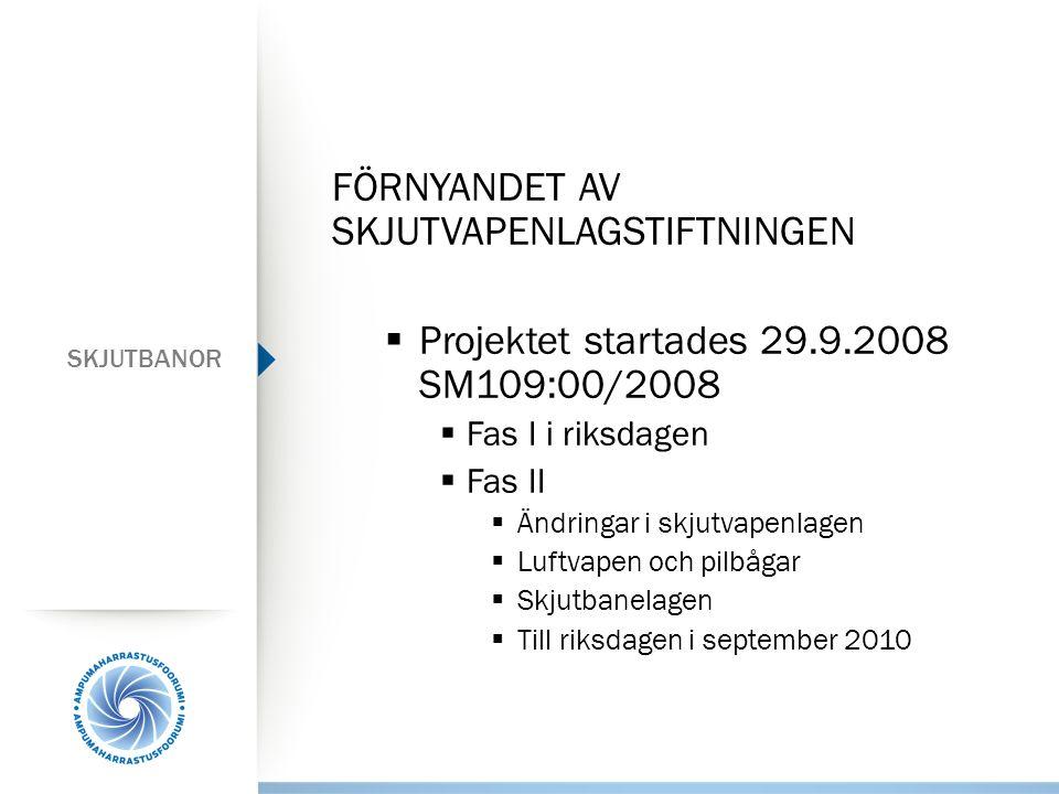 SKJUTBANOR FÖRNYANDET AV SKJUTVAPENLAGSTIFTNINGEN  Projektet startades 29.9.2008 SM109:00/2008  Fas I i riksdagen  Fas II  Ändringar i skjutvapenlagen  Luftvapen och pilbågar  Skjutbanelagen  Till riksdagen i september 2010
