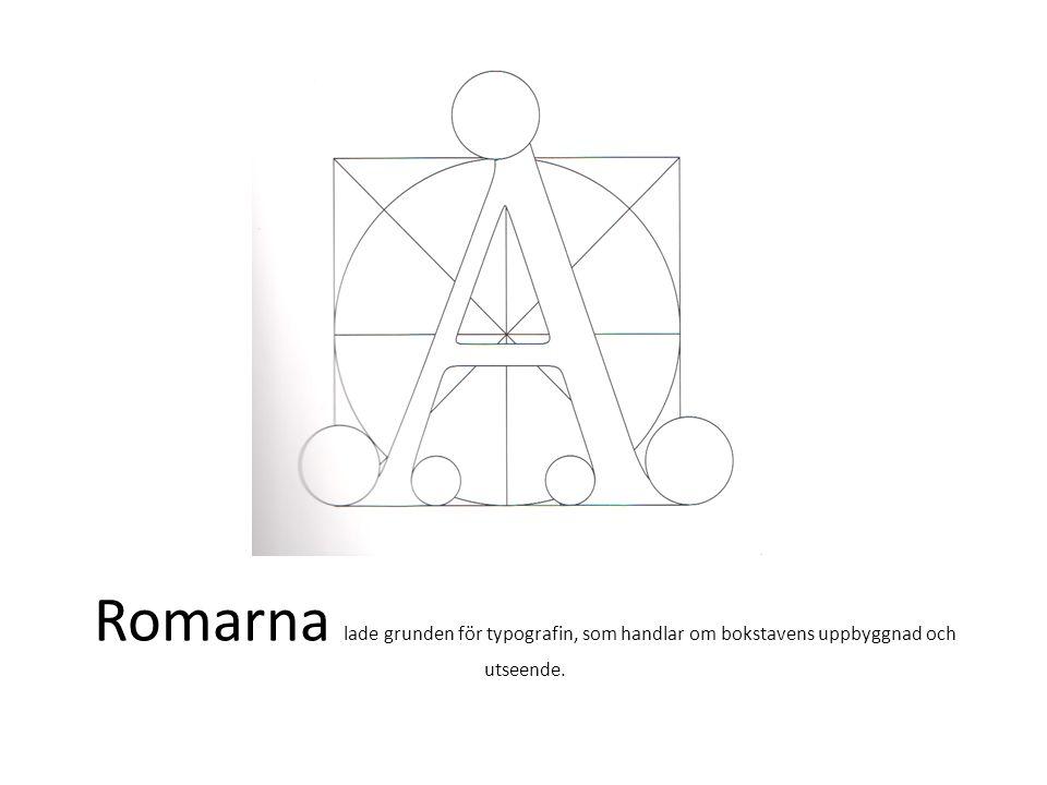 Romarna lade grunden för typografin, som handlar om bokstavens uppbyggnad och utseende.
