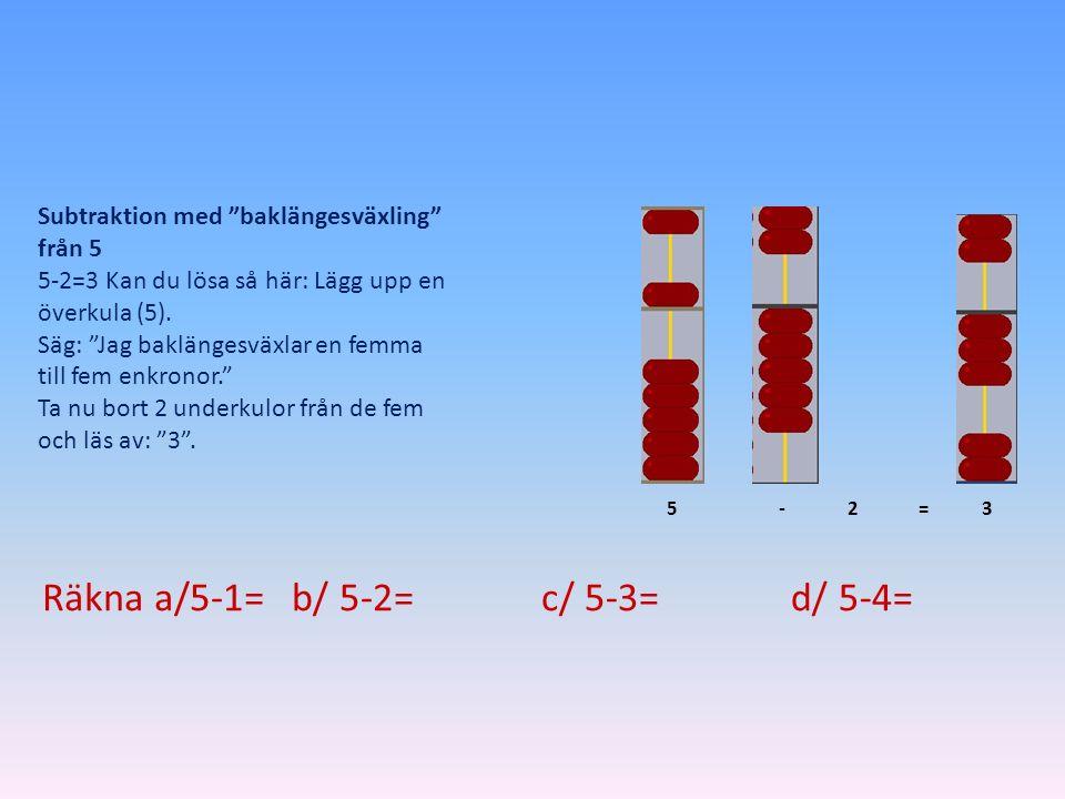 """Subtraktion med """"baklängesväxling"""" från 5 5-2=3 Kan du lösa så här: Lägg upp en överkula (5). Säg: """"Jag baklängesväxlar en femma till fem enkronor."""" T"""