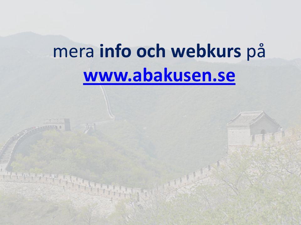 mera info och webkurs på www.abakusen.se