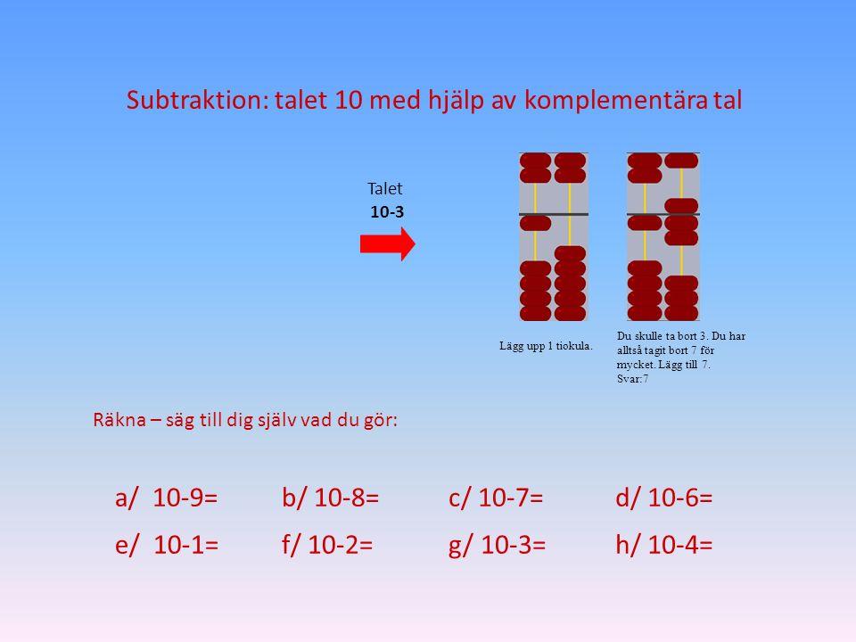 Subtraktion: talet 10 med hjälp av komplementära tal Lägg upp 1 tiokula. Du skulle ta bort 3. Du har alltså tagit bort 7 för mycket. Lägg till 7. Svar