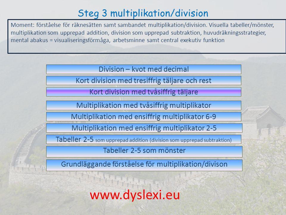 Steg 3 multiplikation/division Grundläggande förståelse för multiplikation/divison Tabeller 2-5 som mönster Multiplikation med ensiffrig multiplikator