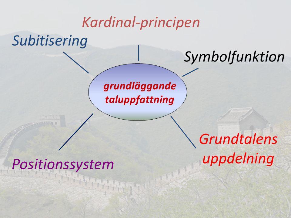 grundläggande taluppfattning Kardinal-principen Grundtalens uppdelning Symbolfunktion Subitisering Positionssystem