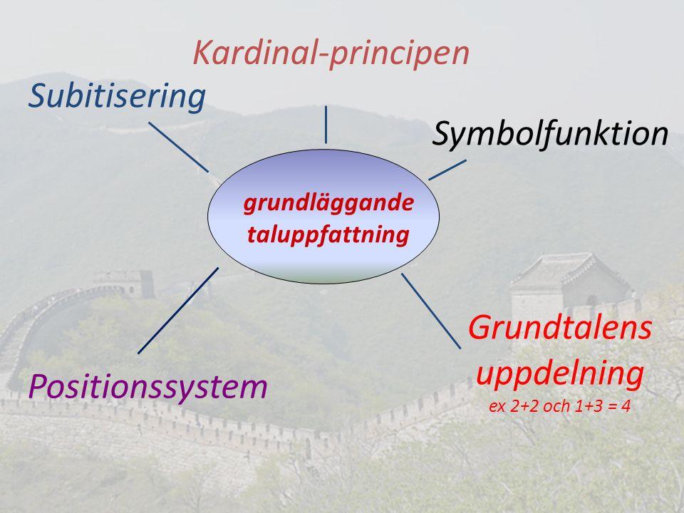 grundläggande taluppfattning Kardinal-principen Grundtalens uppdelning ex 2+2 och 1+3 = 4 Symbolfunktion Subitisering Positionssystem