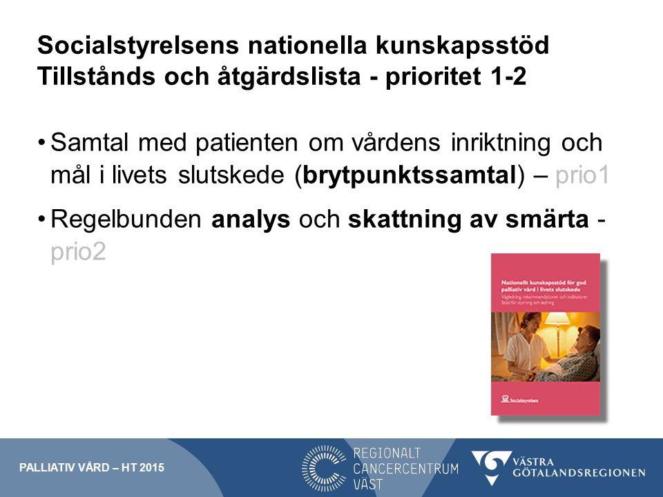 Socialstyrelsens nationella kunskapsstöd Tillstånds och åtgärdslista - prioritet 1-2 Samtal med patienten om vårdens inriktning och mål i livets sluts