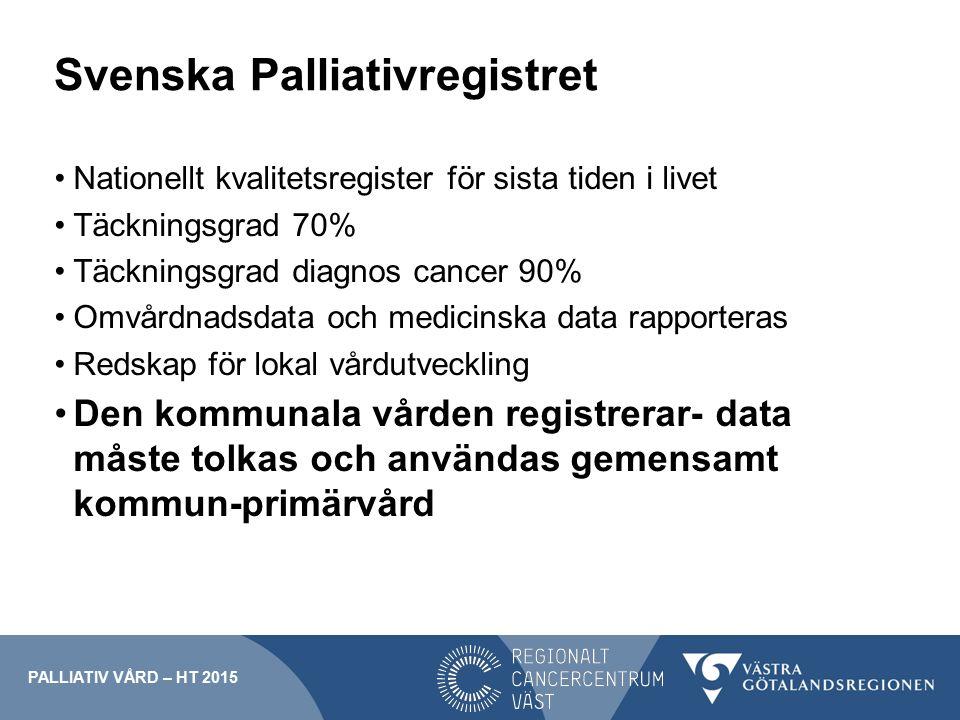 Svenska Palliativregistret Nationellt kvalitetsregister för sista tiden i livet Täckningsgrad 70% Täckningsgrad diagnos cancer 90% Omvårdnadsdata och