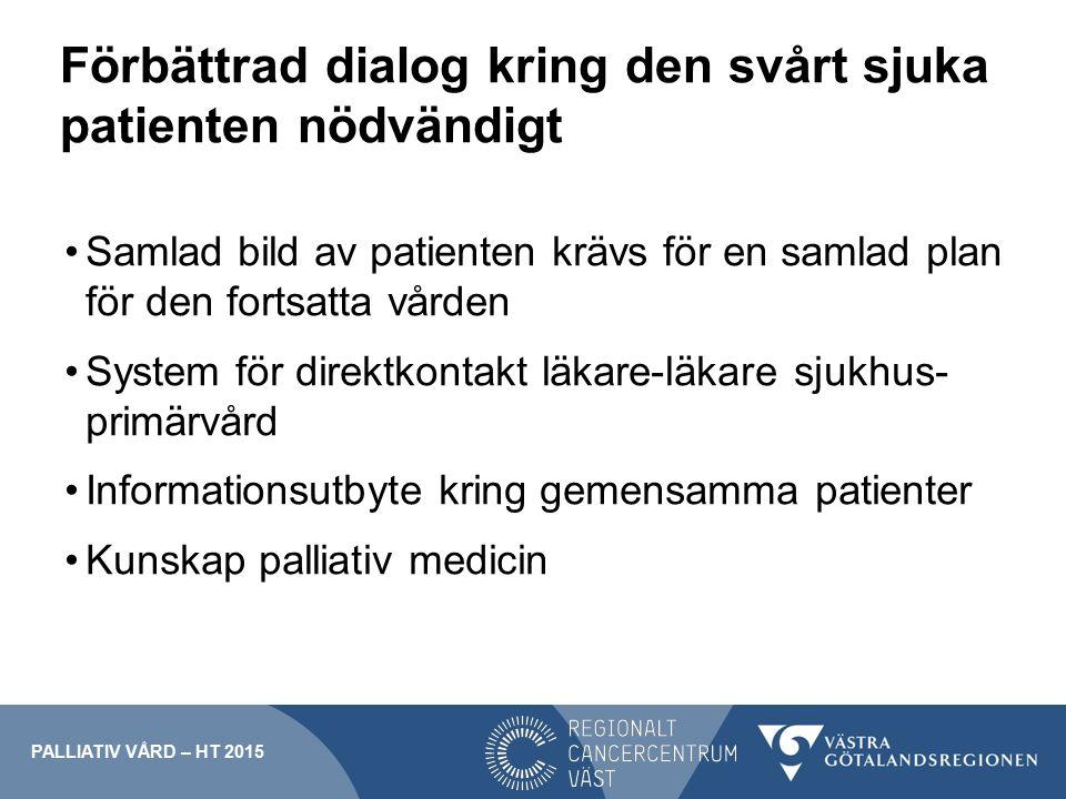 Förbättrad dialog kring den svårt sjuka patienten nödvändigt Samlad bild av patienten krävs för en samlad plan för den fortsatta vården System för dir