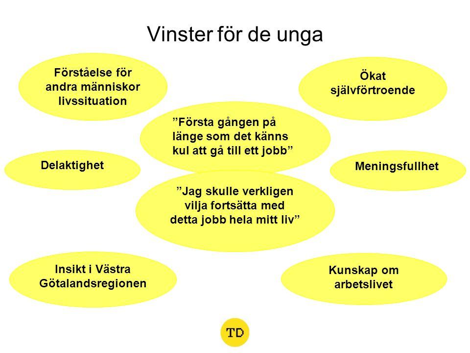 Vinster för de unga Meningsfullhet Kunskap om arbetslivet Ökat självförtroende Delaktighet Insikt i Västra Götalandsregionen Förståelse för andra männ