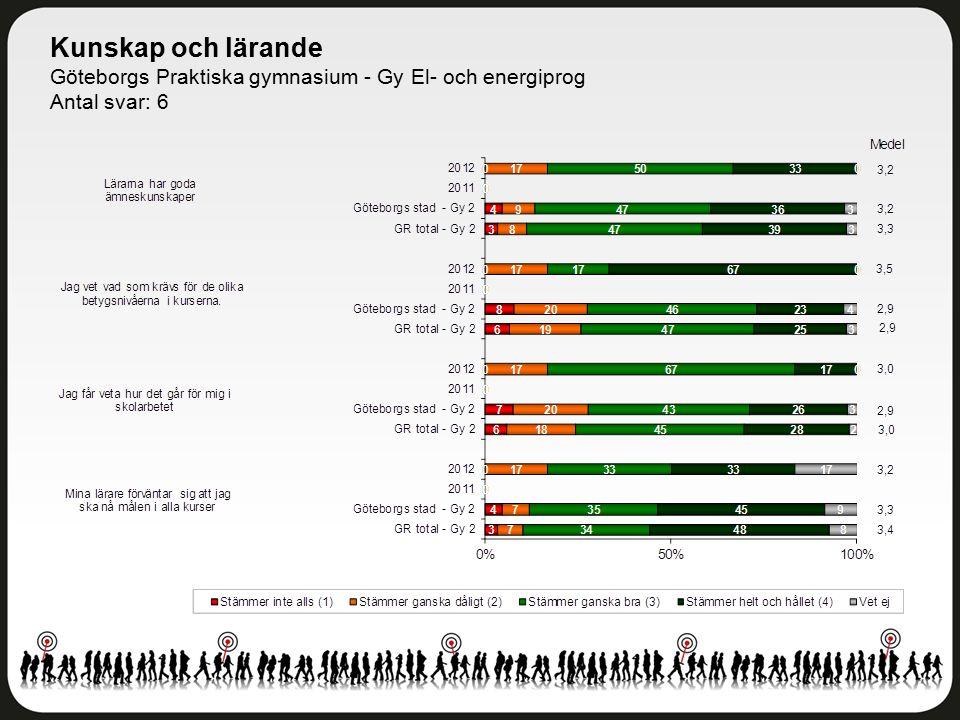 Kunskap och lärande Göteborgs Praktiska gymnasium - Gy El- och energiprog Antal svar: 6