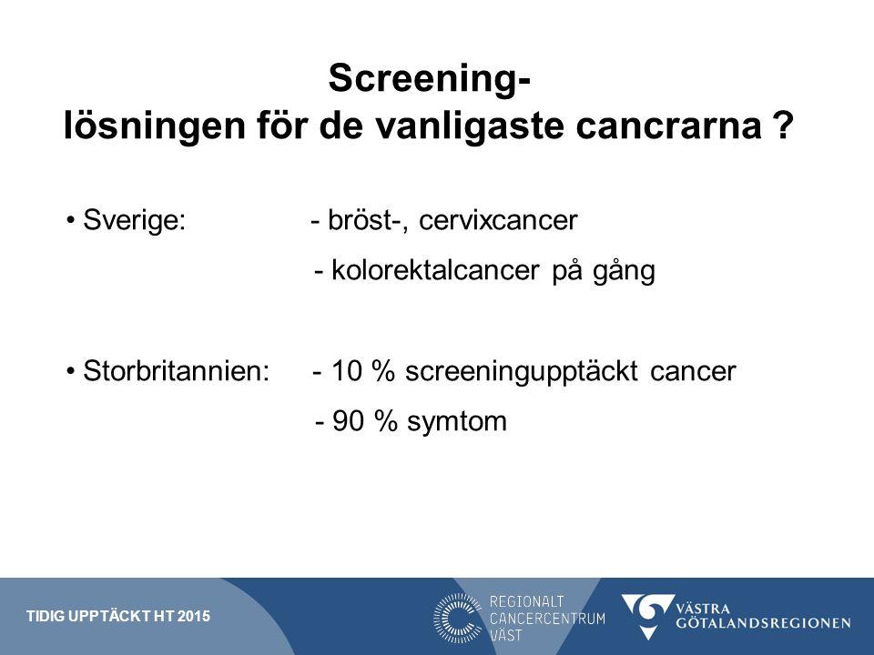 Screening- lösningen för de vanligaste cancrarna ? Sverige: - bröst-, cervixcancer - kolorektalcancer på gång Storbritannien: - 10 % screeningupptäckt