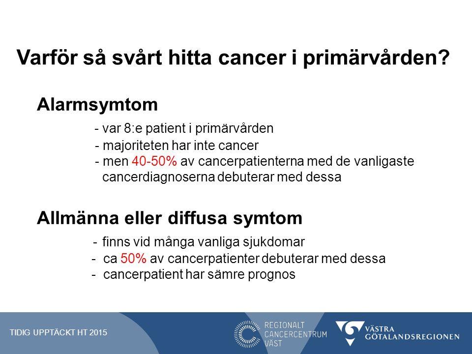 Varför så svårt hitta cancer i primärvården? Alarmsymtom - var 8:e patient i primärvården - majoriteten har inte cancer - men 40-50% av cancerpatiente
