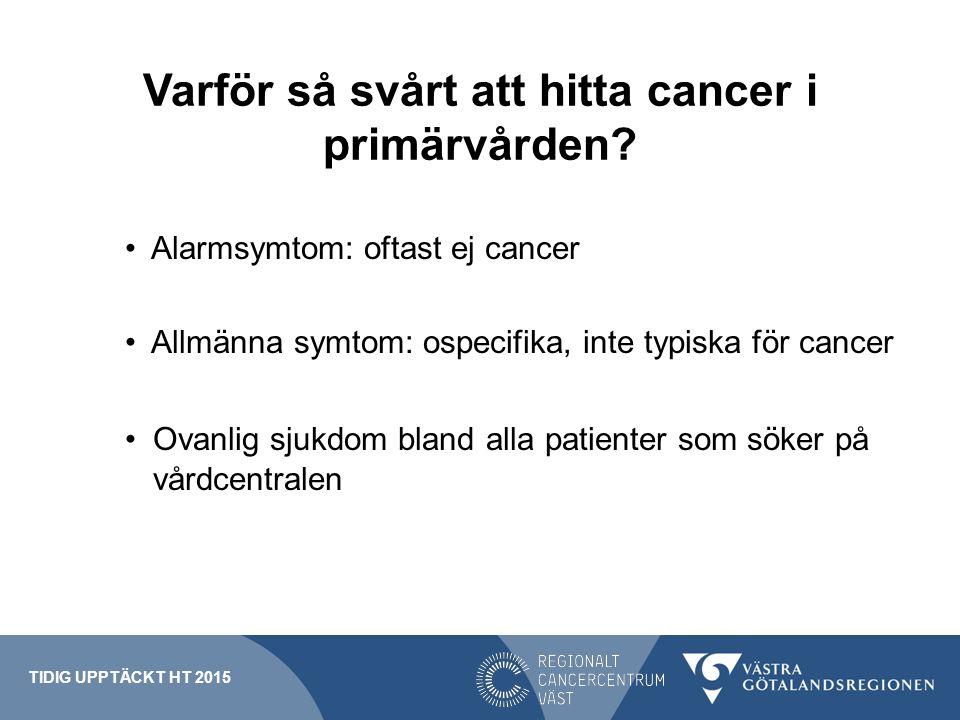 Varför så svårt att hitta cancer i primärvården? Alarmsymtom: oftast ej cancer Allmänna symtom: ospecifika, inte typiska för cancer Ovanlig sjukdom bl