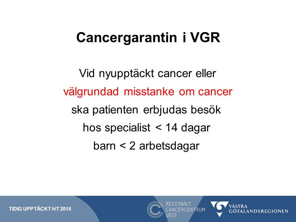 Cancergarantin i VGR Vid nyupptäckt cancer eller välgrundad misstanke om cancer ska patienten erbjudas besök hos specialist < 14 dagar barn < 2 arbets