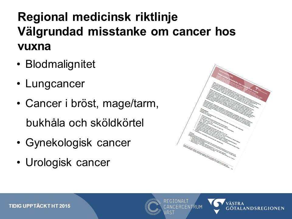 Regional medicinsk riktlinje Välgrundad misstanke om cancer hos vuxna Blodmalignitet Lungcancer Cancer i bröst, mage/tarm, bukhåla och sköldkörtel Gyn
