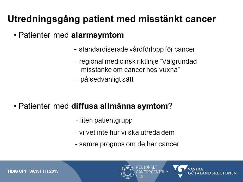 """Utredningsgång patient med misstänkt cancer Patienter med alarmsymtom - standardiserade vårdförlopp för cancer - regional medicinsk riktlinje """"Välgrun"""