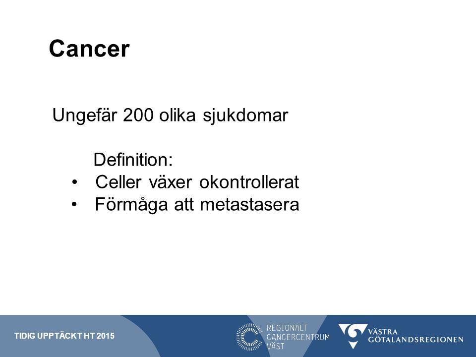 Cancerincidens Sverige 2013 61 000 fall av cancer 58 000 personer Näst vanligaste dödsorsaken 25% av alla dödsfall TIDIG UPPTÄCKT HT 2015