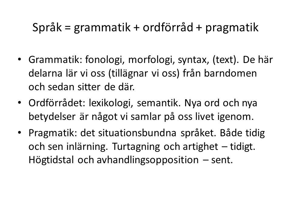 Språk = grammatik + ordförråd + pragmatik Grammatik: fonologi, morfologi, syntax, (text).