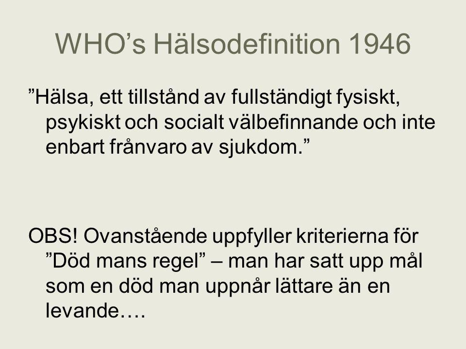 """WHO's Hälsodefinition 1946 """"Hälsa, ett tillstånd av fullständigt fysiskt, psykiskt och socialt välbefinnande och inte enbart frånvaro av sjukdom."""" OBS"""