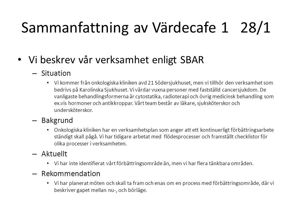 Sammanfattning av Värdecafe 128/1 Vi beskrev vår verksamhet enligt SBAR – Situation Vi kommer från onkologiska kliniken avd 21 Södersjukhuset, men vi
