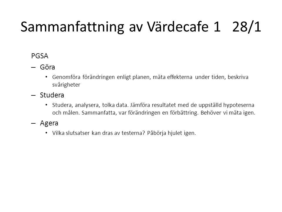 Sammanfattning av Värdecafe 128/1 PGSA – Göra Genomföra förändringen enligt planen, mäta effekterna under tiden, beskriva svårigheter – Studera Studer