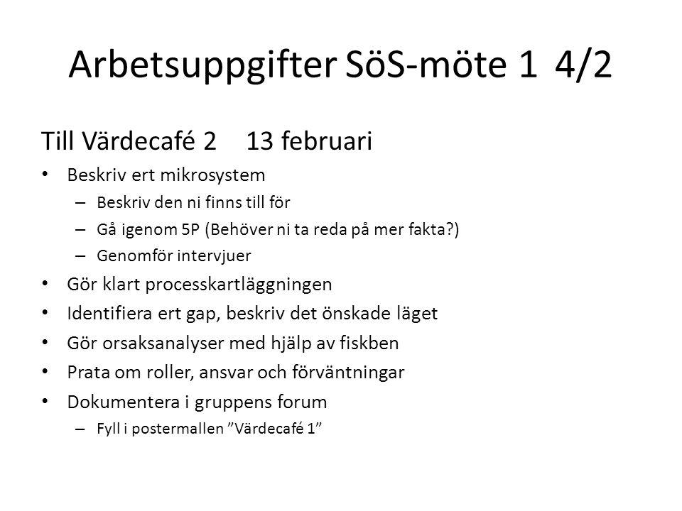 Arbetsuppgifter SöS-möte 1 4/2 Till Värdecafé 213 februari Beskriv ert mikrosystem – Beskriv den ni finns till för – Gå igenom 5P (Behöver ni ta reda