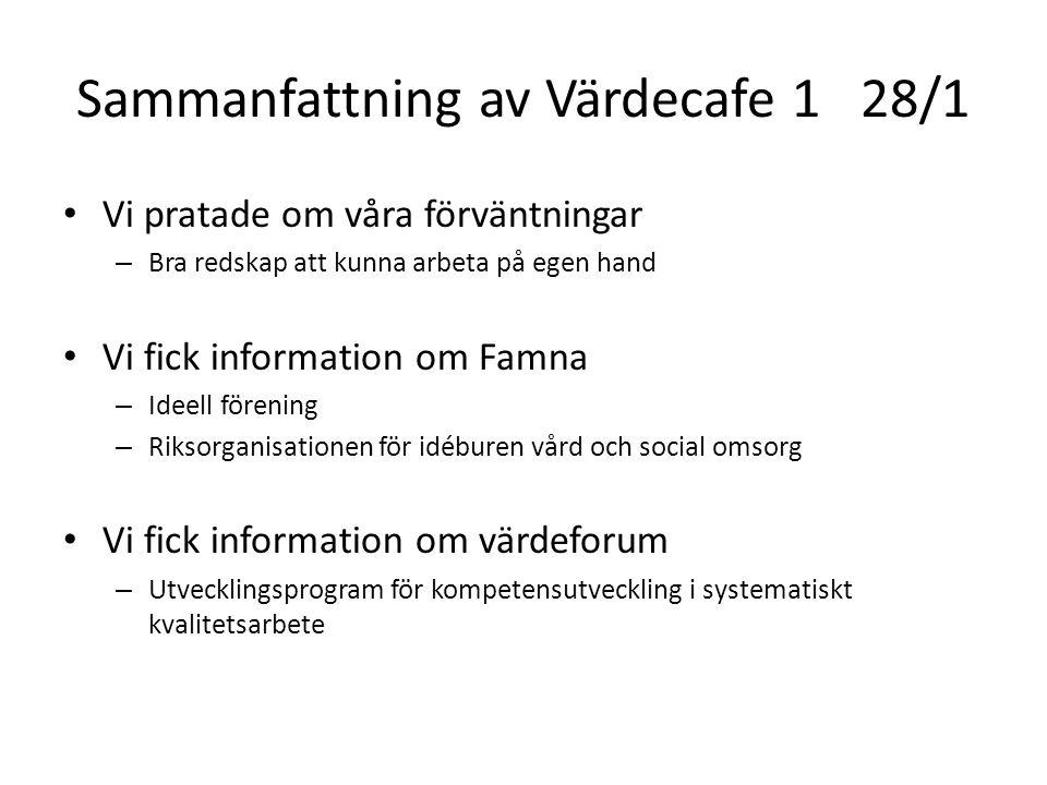 Sammanfattning av Värdecafe 1 28/1 Vi pratade om våra förväntningar – Bra redskap att kunna arbeta på egen hand Vi fick information om Famna – Ideell