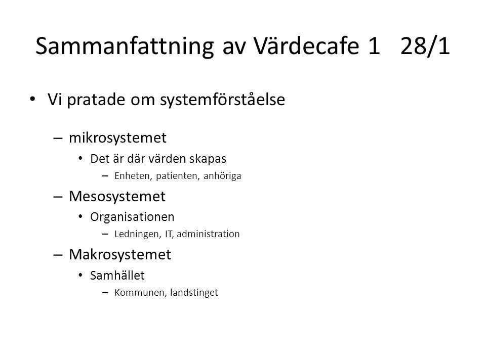 Sammanfattning av Värdecafe 128/1 Vi pratade om systemförståelse – mikrosystemet Det är där värden skapas – Enheten, patienten, anhöriga – Mesosysteme