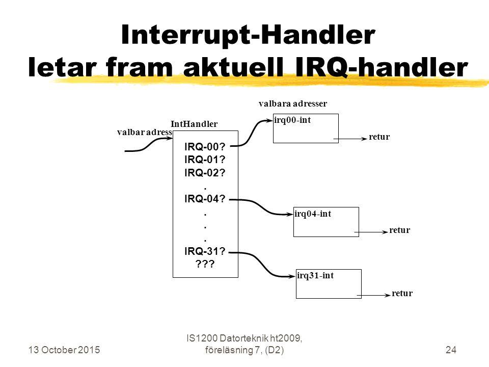 13 October 2015 IS1200 Datorteknik ht2009, föreläsning 7, (D2)24 Interrupt-Handler letar fram aktuell IRQ-handler IntHandler valbar adress irq00-int valbara adresser IRQ-00.