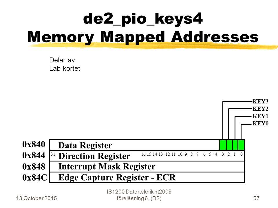 13 October 2015 IS1200 Datorteknik ht2009 föreläsning 6, (D2)57 de2_pio_keys4 Memory Mapped Addresses 0x840 0x844 0x848 0x84C 31 16 15 14 13 12 11 10