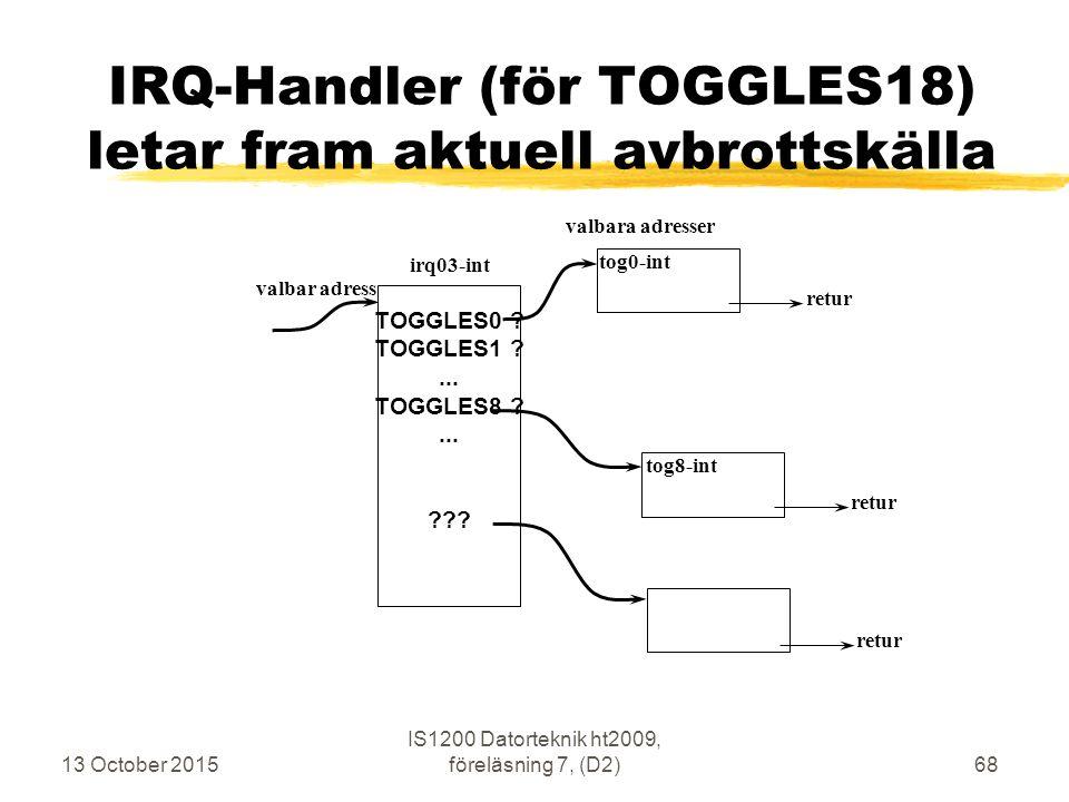 13 October 2015 IS1200 Datorteknik ht2009, föreläsning 7, (D2)68 IRQ-Handler (för TOGGLES18) letar fram aktuell avbrottskälla irq03-int valbar adress tog0-int valbara adresser TOGGLES0 .