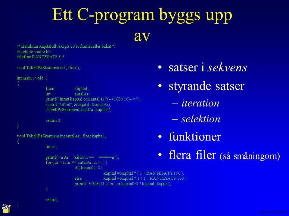 Anders Sjögren Ett C-program byggs upp av satser i sekvens styrande satser –iteration –selektion funktioner flera filer (så småningom) /* Beräknar kapitaltillväxt på 10 år framåt eller bakåt */ #include #define RANTESATS 8.5 void TabellPaSkarmen( int, float ); int main ( void ) { floatkapital ; intantalAr; printf( Insatt kapital och antal år (-->1000 10)--> ); scanf( %f%d , &kapital, &antalAr); TabellPaSkarmen( antalAr, kapital ); return 0; } void TabellPaSkarmen( int antalAr, float kapital ) { int ar ; printf( \n År Saldo\n == =====\n ); for ( ar = 1; ar <= antalAr; ar++ ) { if ( kapital > 0 ) kapital = kapital * ( 1 + RANTESATS/100 ); else kapital = kapital * 1/( 1 + RANTESATS/100 ); printf( %3d%11.2f\n , ar,kapital>0 .