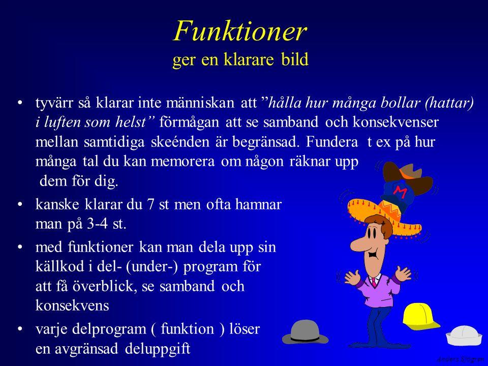 Anders Sjögren Rekursion tillämpning man kan använda rekursion för att vända på dataföljder #include void SkrivBaklanges( int ); int main( void ){ printf( Skriv tecken ( avsluta med Enter )--> ); SkrivBaklanges( getchar() ); return 0; } void SkrivBaklanges( int tecken){ if (tecken != \n ) { SkrivBaklanges( getchar() ); putchar( tecken ); } return ; } SKRIVBAK.EXE