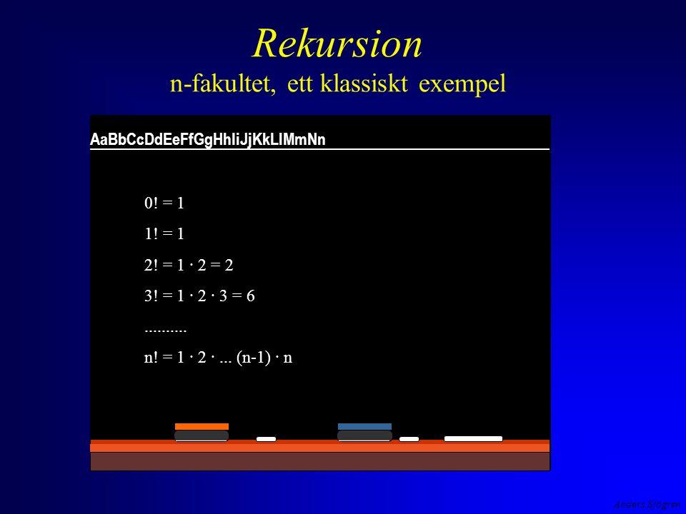 Anders Sjögren Rekursion n-fakultet, ett klassiskt exempel AaBbCcDdEeFfGgHhIiJjKkLlMmNn 0.