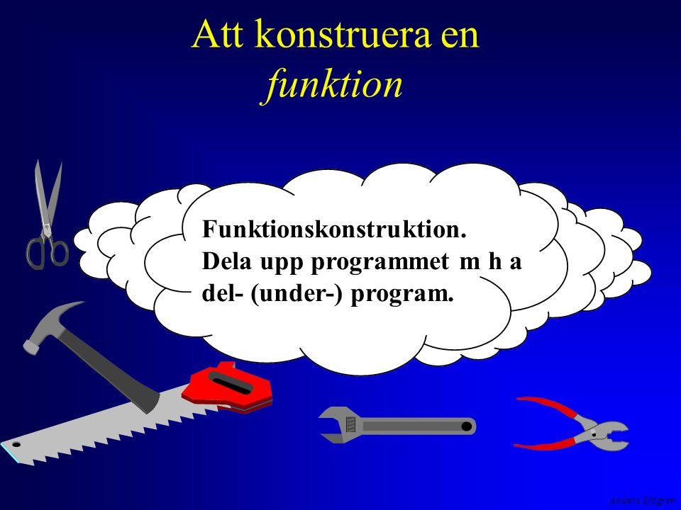 Anders Sjögren Att konstruera en funktion en översiktsbild av hela program- met /* Beräknar kapitaltillväxt på 10 år framåt eller bakåt */ #include #define RANTESATS 8.5 void TabellPaSkarmen( int, float ); int main ( void ) { floatkapital ; intantalAr; printf( Insatt kapital och antal år ?(-->1000 10)--> ); scanf( %f%d , &kapital, &antalAr); TabellPaSkarmen( antalAr, kapital ); return 0; } void TabellPaSkarmen( int antalAr, float kapital ) { int ar ; printf( \n År Saldo\n == =====\n ); for ( ar = 1; ar <= antalAr; ar++ ) { if ( kapital > 0 ) kapital = kapital * ( 1 + RANTESATS/100 ); else kapital = kapital * 1/( 1 + RANTESATS/100 ); printf( %3d%11.2f\n , ar,kapital>0 .