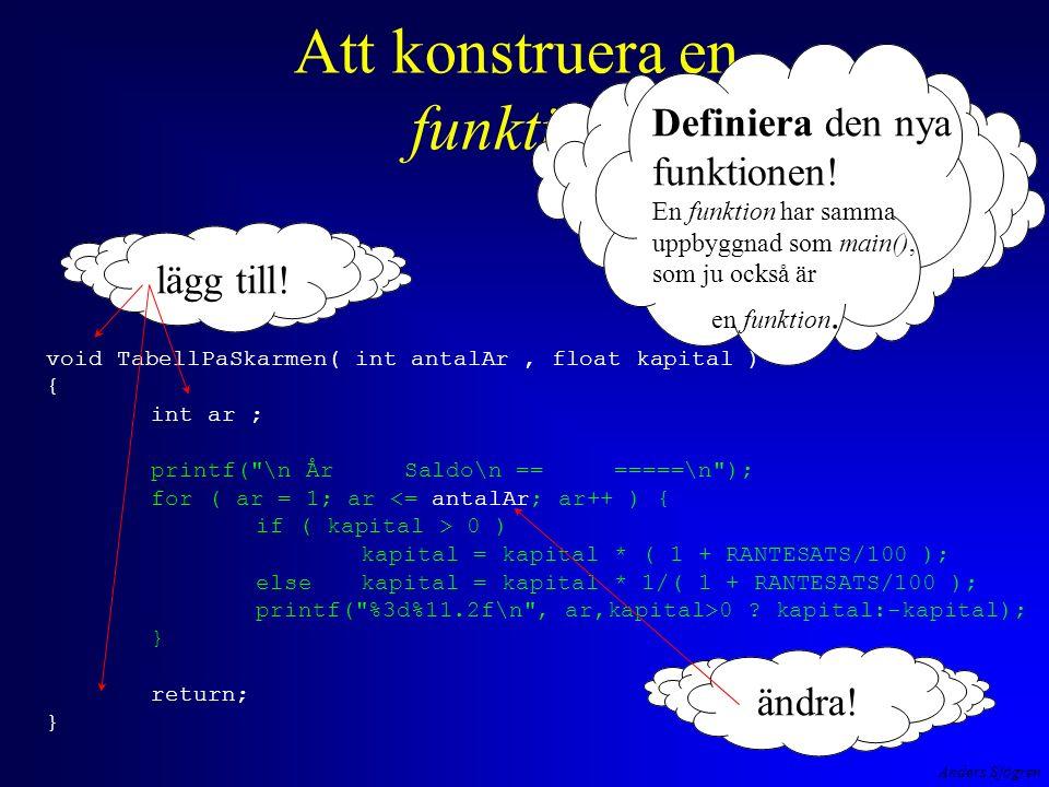 Anders Sjögren Att konstruera en funktion void TabellPaSkarmen( int antalAr, float kapital ) { int ar ; printf( \n År Saldo\n == =====\n ); for ( ar = 1; ar <= antalAr; ar++ ) { if ( kapital > 0 ) kapital = kapital * ( 1 + RANTESATS/100 ); else kapital = kapital * 1/( 1 + RANTESATS/100 ); printf( %3d%11.2f\n , ar,kapital>0 .