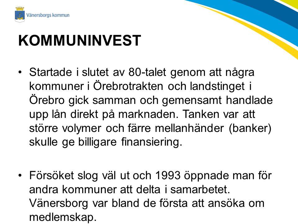 KOMMUNINVEST Startade i slutet av 80-talet genom att några kommuner i Örebrotrakten och landstinget i Örebro gick samman och gemensamt handlade upp lån direkt på marknaden.