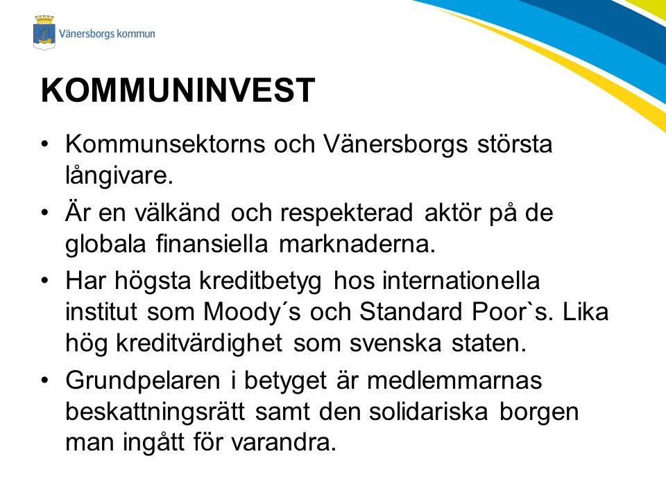 KOMMUNINVEST Kommunsektorns och Vänersborgs största långivare.