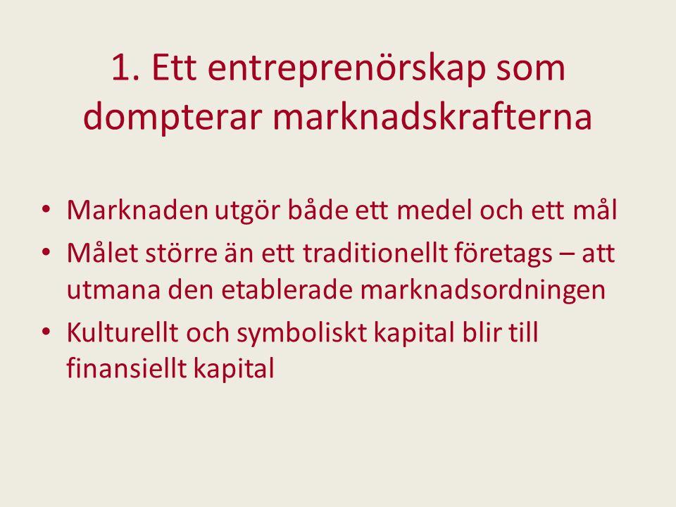 1. Ett entreprenörskap som dompterar marknadskrafterna Marknaden utgör både ett medel och ett mål Målet större än ett traditionellt företags – att utm