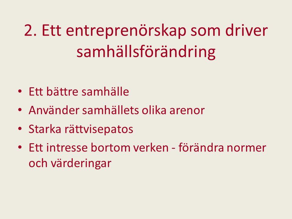 2. Ett entreprenörskap som driver samhällsförändring Ett bättre samhälle Använder samhällets olika arenor Starka rättvisepatos Ett intresse bortom ver