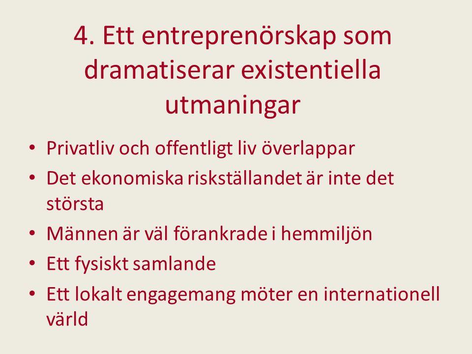 4. Ett entreprenörskap som dramatiserar existentiella utmaningar Privatliv och offentligt liv överlappar Det ekonomiska riskställandet är inte det stö