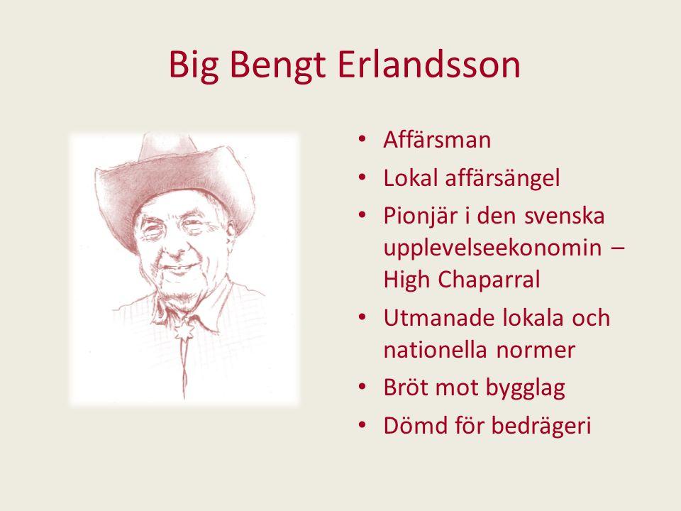 Big Bengt Erlandsson Affärsman Lokal affärsängel Pionjär i den svenska upplevelseekonomin – High Chaparral Utmanade lokala och nationella normer Bröt