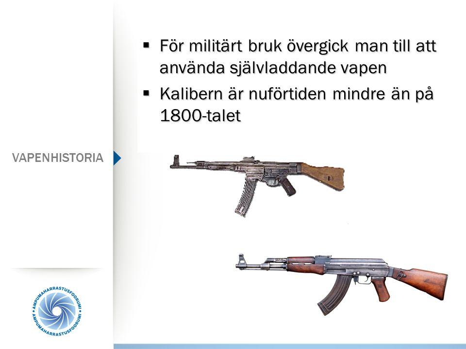  För militärt bruk övergick man till att använda självladdande vapen  Kalibern är nuförtiden mindre än på 1800-talet VAPENHISTORIA