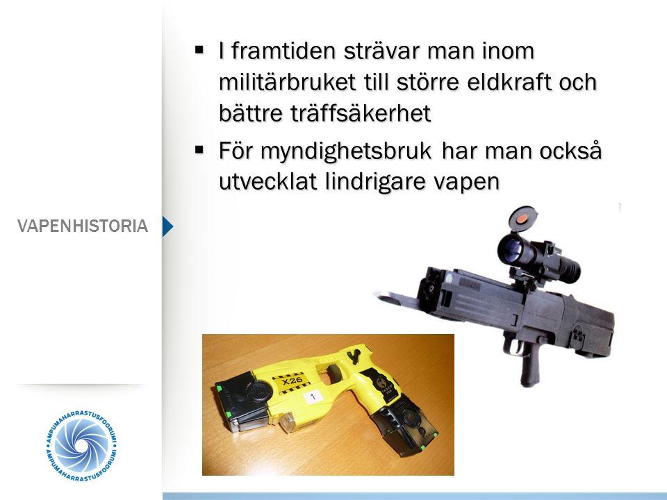  I framtiden strävar man inom militärbruket till större eldkraft och bättre träffsäkerhet  För myndighetsbruk har man också utvecklat lindrigare vap