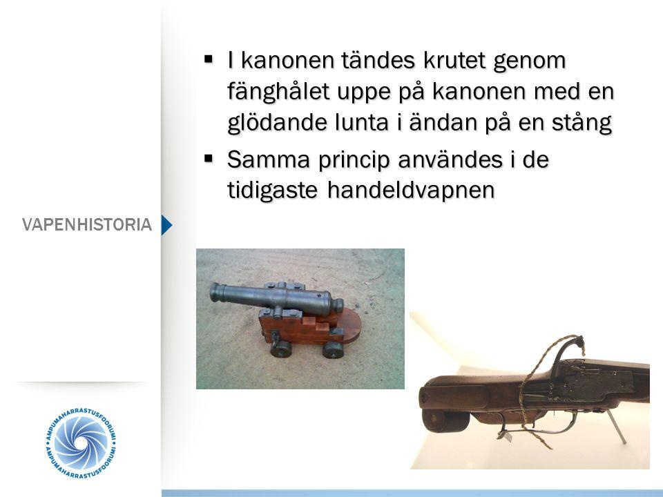 VAPENHISTORIA  I kanonen tändes krutet genom fänghålet uppe på kanonen med en glödande lunta i ändan på en stång  Samma princip användes i de tidiga