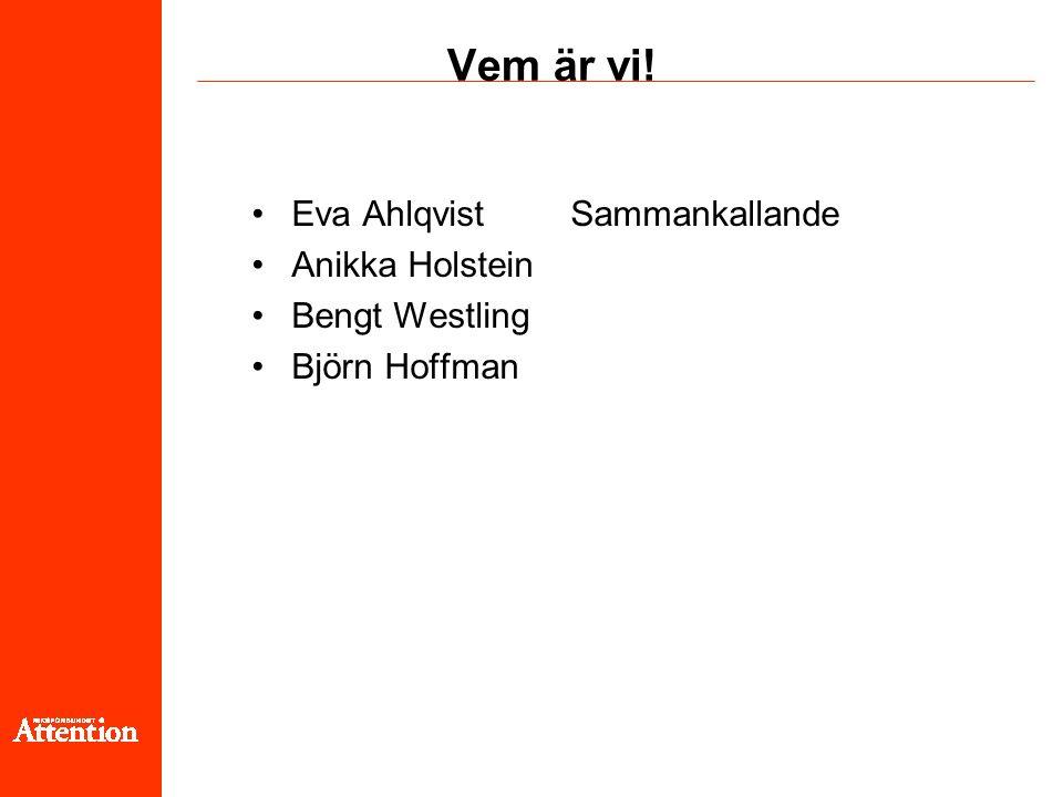 Vem är vi! Eva Ahlqvist Sammankallande Anikka Holstein Bengt Westling Björn Hoffman