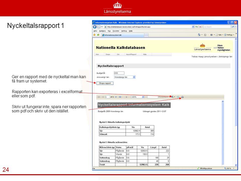 Nyckeltalsrapport 1 Ger en rapport med de nyckeltal man kan få fram ur systemet.