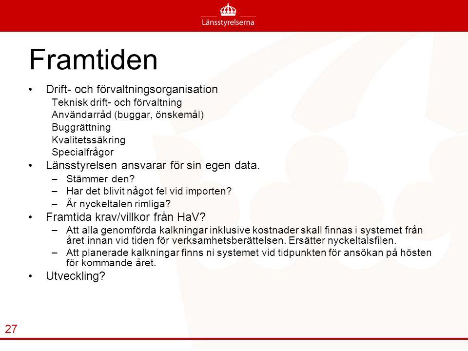 Framtiden Drift- och förvaltningsorganisation Teknisk drift- och förvaltning Användarråd (buggar, önskemål) Buggrättning Kvalitetssäkring Specialfrågor Länsstyrelsen ansvarar för sin egen data.