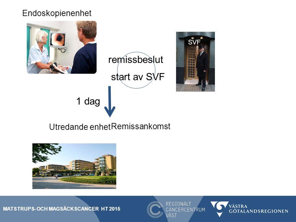 1 dag Utredande enhet Remissankomst Endoskopienenhet SVF remissbeslut start av SVF MATSTRUPS- OCH MAGSÄCKSCANCER HT 2015