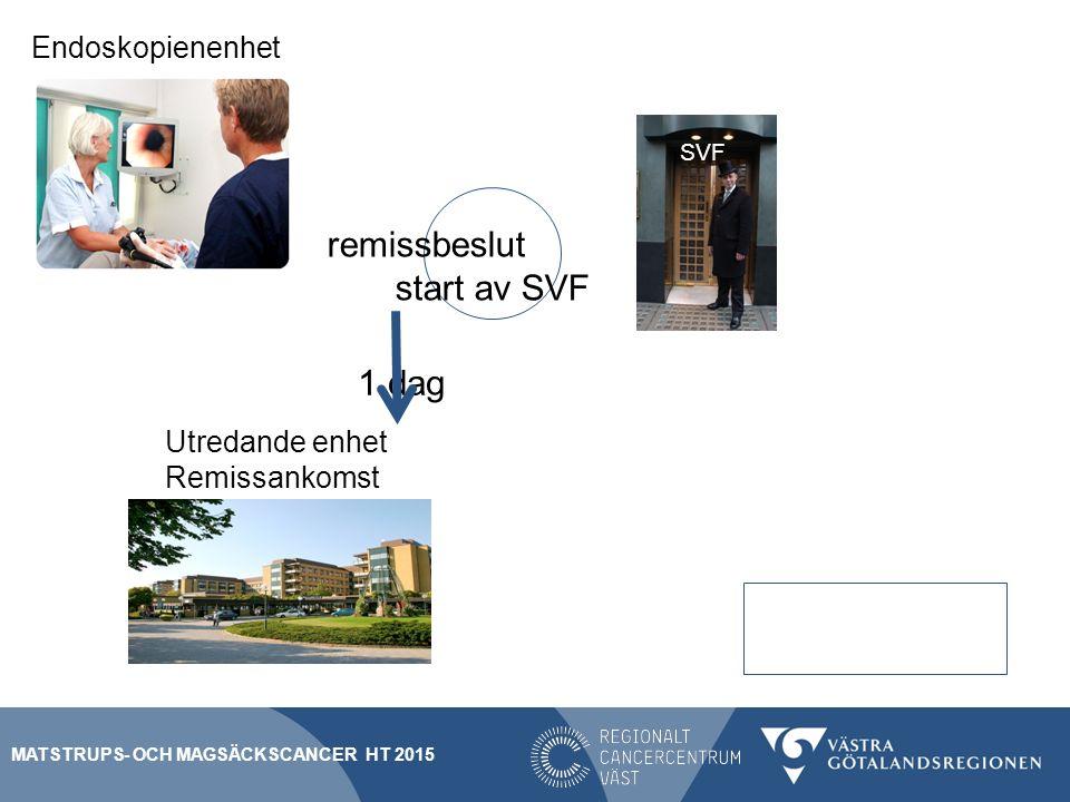 remissbeslut start av SVF 1 dag Remissankomst 5 dagar Block A Utredande enhet Endoskopienenhet SVF MATSTRUPS- OCH MAGSÄCKSCANCER HT 2015
